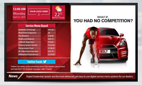 Automotive digital signage