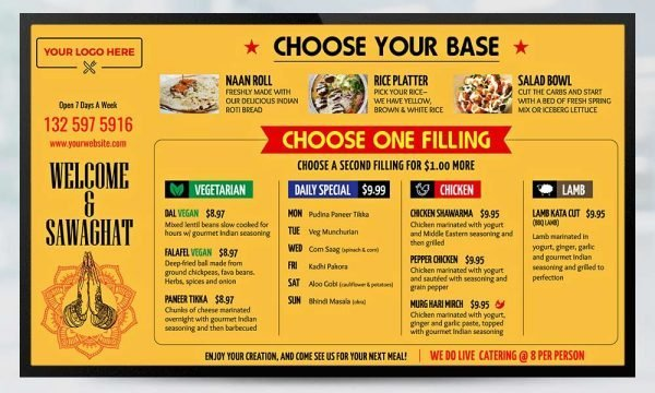 Rice and Roll Menu